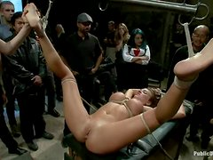 Pretty Nika Noire gets tied up and fucked in public