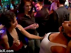 Busty blonde babe Felony gets orgy disgraced in bar
