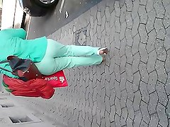German Mature Ass In Tight Jeans Voyeur Walk Street
