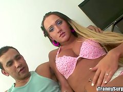 Blonde tranny Monique Martins gets her ass fingered and fucked hard