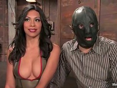 Femdom FFM Threesome with Pegging and Spanking for Masked Dude