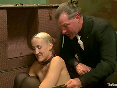 Three sexy chicks in stockings get punished by their master