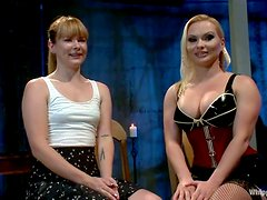 Blonde babe gets toyed after wax session in femdom vid