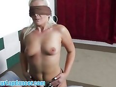 Blindfolded chick lapdances and sucks my cock