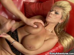 Shiny boots on hot fucked blonde