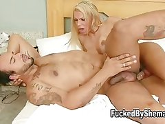 Big breasted tranny rams her dick in guy's asshole