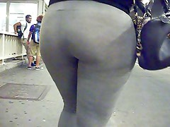 Big Phat Ass Booty in gray Spandex