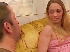 Blonde's Talk On Couch Turns Into Oral Feast