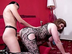 Fat mother fucked by young lesbian with a strapon