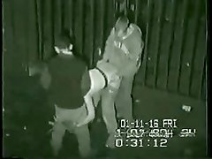 Security footage of threesome round the back of club in UK