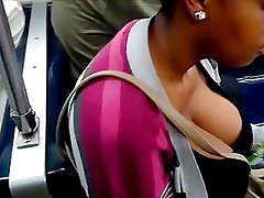 Jiggling Black Tits in Train
