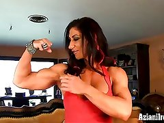 Female Bodybuilder MILF with big tits gets naked