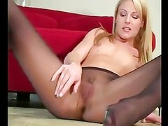 Tiny Titted Blonde In Pantyhose JOI