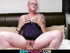 Blonde BBW jumps on stranger's cock