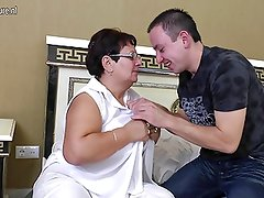 Naughty old granny loves her young toy boy