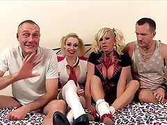Two busty blonde sluts fucked by two strangers