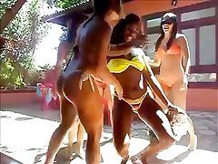hot group bikini tanga dancing