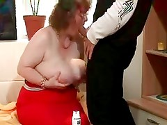 Elder mom with giant saggy boobs & man
