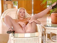 Blonde Tears Open Her Shiny Pantyhose And Uses Glass Dildo