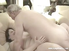 Mature BBW gets fucked then hubby goes in for sloppy seconds