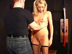 Skinny submissive in erotic bondage video