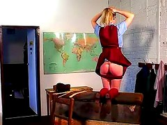 Schoolgirl cries out during a caning