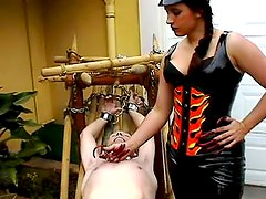 Pure pain play for submissive guy
