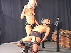 Ring gag on submissive lesbian girl