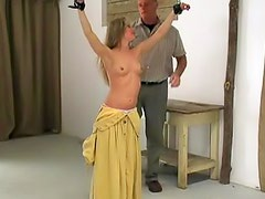 Watch her take a whipping while bound