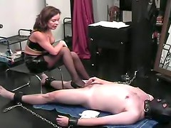 Masked sub slave and his mistress
