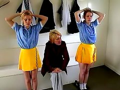 Naughty schoolgirls punished on the ass