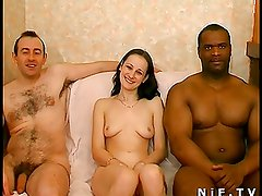 Petite French brunette gets ass fucked in threesome