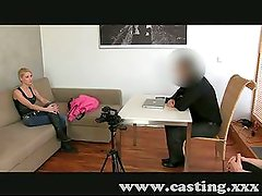 Casting Sexy blonde takes mouthful of spunk