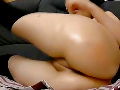 Sexy cam girl playing with ass and pussy vibrator butt plug