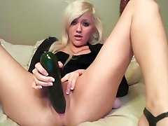 Blonde rams huge toy in  pussy