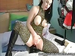 Amateur slut in bodystockings riding huge black anal dildo