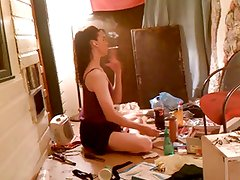 MILF secretary smokes and plays with her dick!!!
