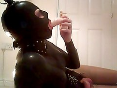 rubber doll sucking my dildo