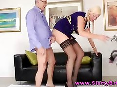 Young blonde giving head to an old man