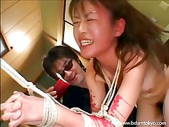 Brutal japanese bdsm and candle wax torture of asian teen