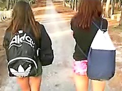 Hotties flash their asses in public
