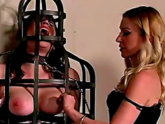 Mistress with two lesbian slaves abused