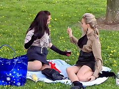 Food fight in the park with beauties