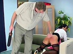 Maid gets spanked until ass red