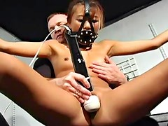 Bound Asian big dildo fuck in pussy