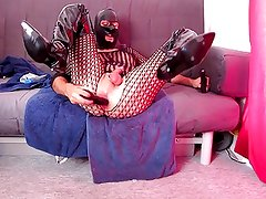 Anal dildo fuck, sucking in thigh boots and catsuit