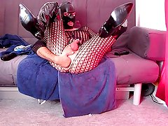 Anal fist, dildo fucking, cumshot in thigh boots and catsuit