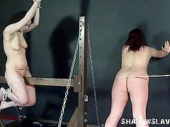 Lesbian spanking and extreme bondage of two english amateurs
