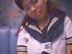 Chinese girl dresses as a school girl