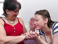Old grandma fucks young teen girl